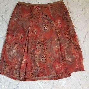 Sz 12 Fully Lined Side Zip Flare Skirt Earth Tones
